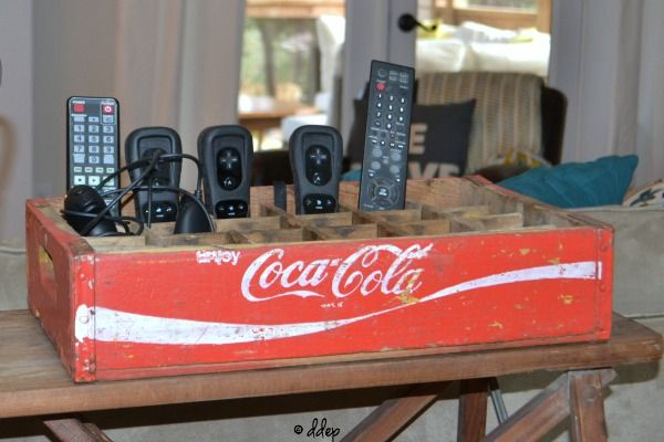 coke crate to hold remotes - Dogs Don't Eat Pizza