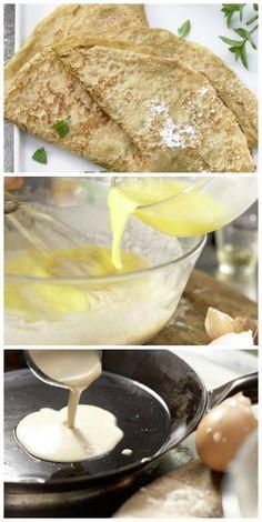 Mehl in eine Schüssel sieben und mit Milch glattrühren. Eier mit etwas Salz verquirlen, zusammen mit dem Öl zum Mehl geben und verrühren: Vollkorn-Pfannkuchenteig (Grundrezept) | http://eatsmarter.de/rezepte/vollkorn-pfannkuchenteig