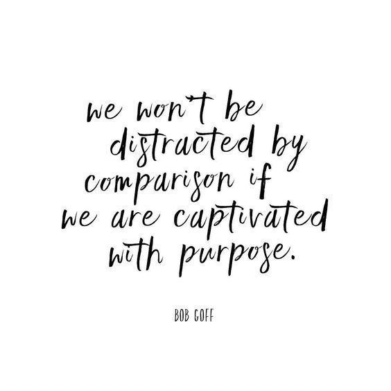 In the social media age, I think this is an important thing for people to keep in mind.  Don't let comparison steal your joy and purpose!!  <3