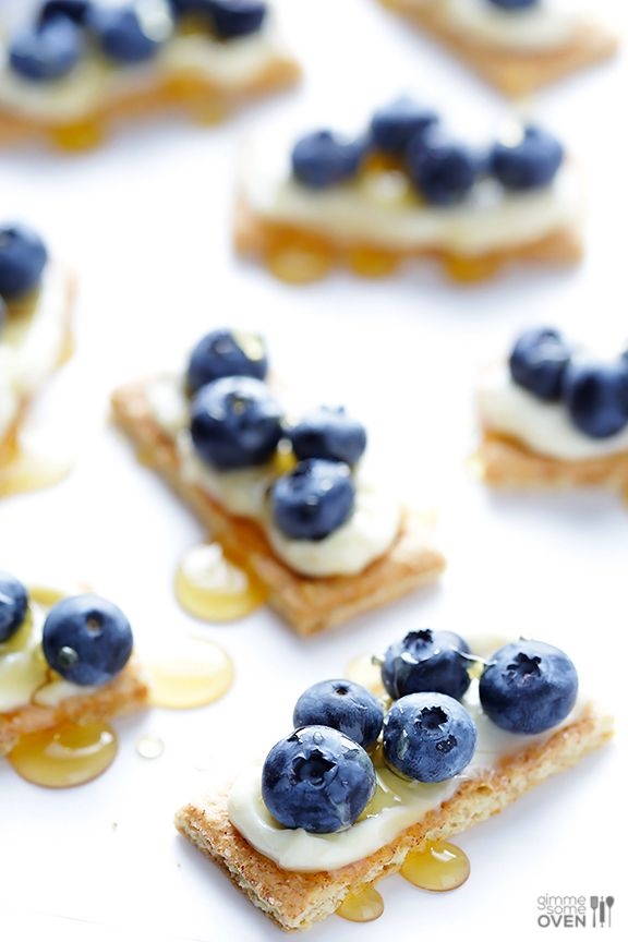 """This idea for blueberry """"cheesecake"""" bites is genius! Simple AND tasty? Count us in!"""