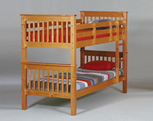 Twin Size Honey Pine Solid Wood Bunk Bed 298 00 American