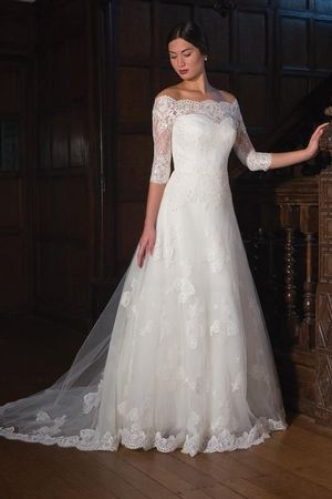 Bateau A-Line Wedding Dress  with Natural Waist in Lace. Bridal Gown Style Number:33089764