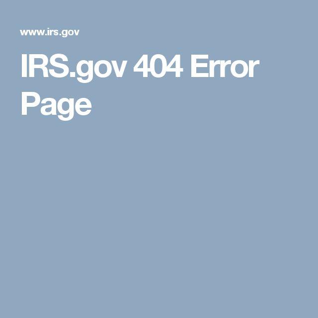 IRS.gov 404 Error Page