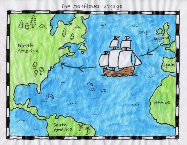 How to make a Mayflower Map with tracing paper, marker and paint. #mayflower