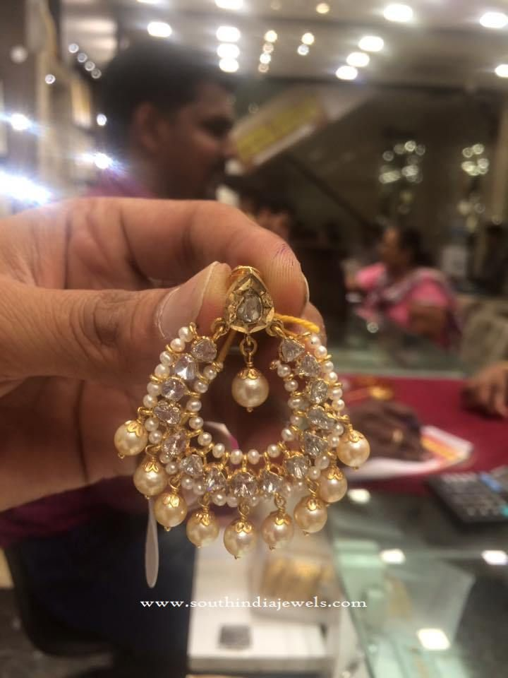 Gold Earrings in 22 Grams, Pearl Chandbali Earrings win 22 Grams, Gold Pearl Chandbali Design.