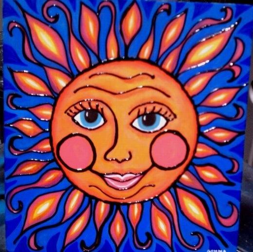 Sun Painting Acrylic On Wood By Gemma Flavin My Artwork