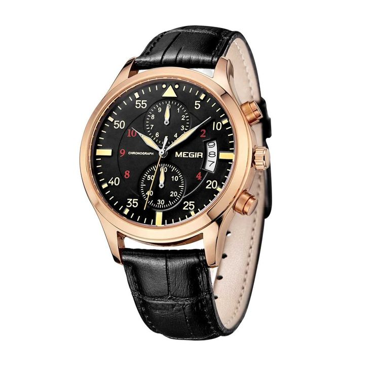 Watch Hub Co - Montre / Gold Black Leather Watch