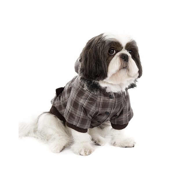 Checked Dog Parka with Brown Hood #dogcoat #tartan #checkeddogcoat