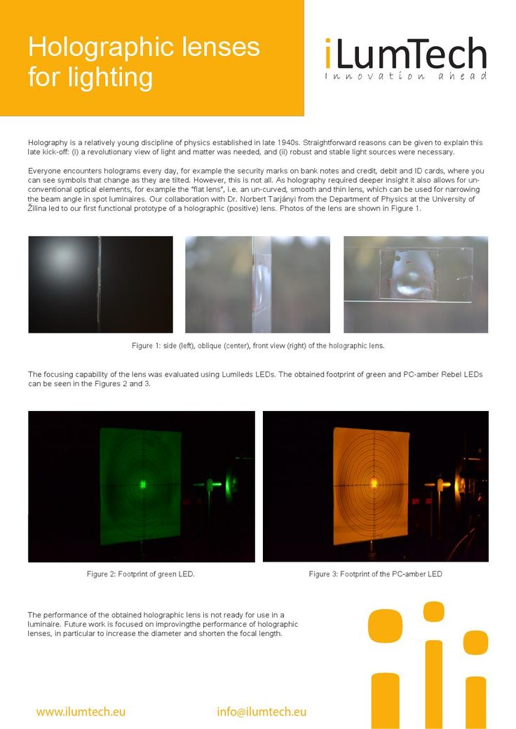 iLumTech_Optic Design_Holographic lenses - new innovative unconventional optical elements which can be used in different luminaries