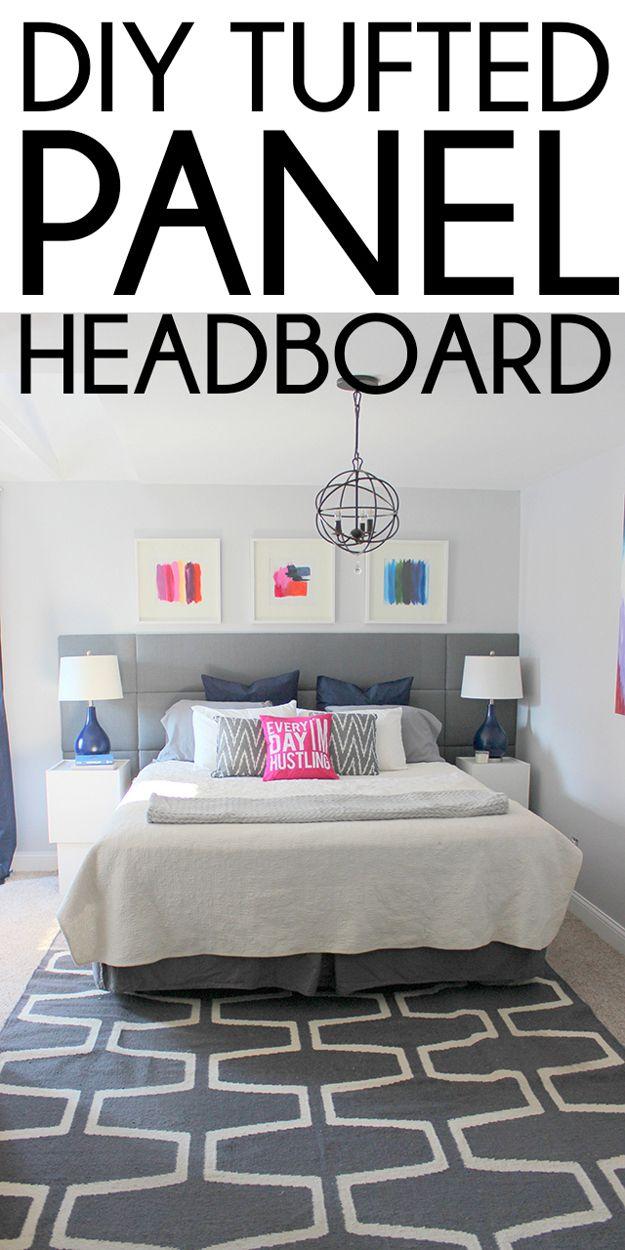 Easy Tufted DIY Upholstered Headboard | http://diyready.com/cool-diy-upholstered-headboards/