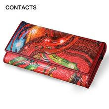New Fashion Leather Women Wallet Vintage Flower Printed Ostrich Red Wallets Ladies' Long Clutches With Coin Purse Card Holder(China (Mainland))
