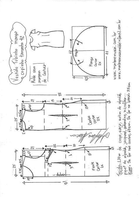 Corte e costura de vestido tubinho