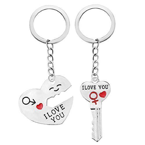 Porte-clés Sisit Porte-clés romantique Couple. Keyring Keyfob Saint Valentin Amant Cadeau Coeur Clé Set: ★ Taille: environ 3,1 * 3,8 cm,…