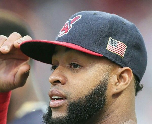 Cleveland Indians Carlos Santana and all of MLB wore hats in honor of 9/11, during the game against the Detroit Tigers at Progressive Field, Cleveland, Ohio, on September 11, 2017. (Chuck Crow/The Plain Dealer). Indians won 11-0