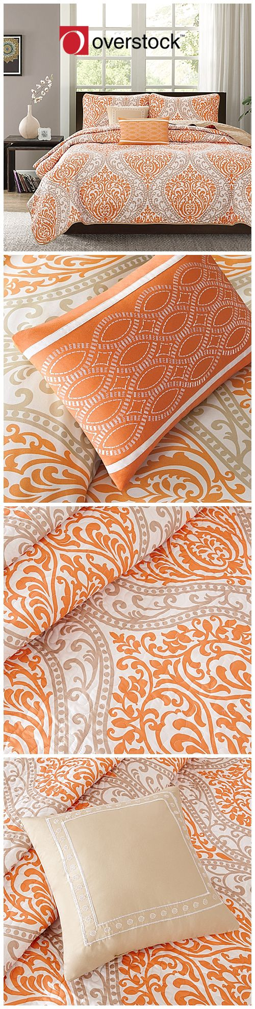 bring the beauty of fall into your bedroom with this gorgeous burnt orange five piece comforter