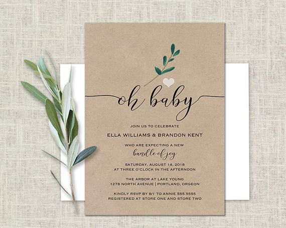 Baby Shower Invitation Kraft Paper Greenery Baby Shower Gender