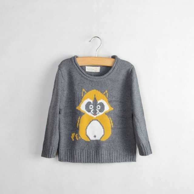Новая детская одежда торговля оригинальный одного симпатичных маленьких мальчиков и девочек хлопка свитер енот патч 0.28kg-Taobao