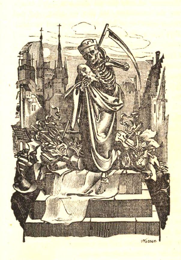 Death wearing a mask. Freund Hein: Grotesken und Phantasmagorieen by Eduard Duller, vol. 1, 1833. Illustrator: Moritz von Schwind (1804-1871)