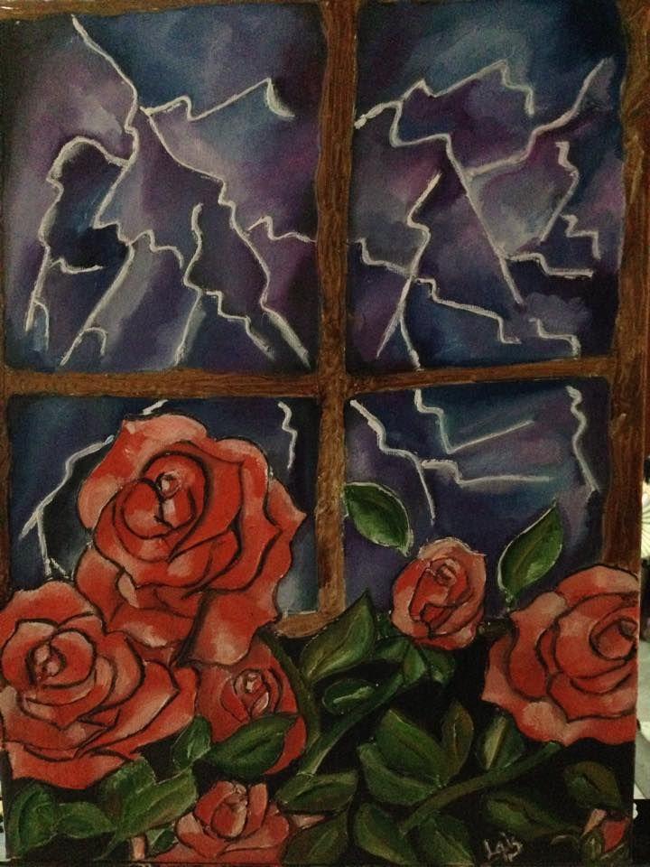 tormenta y rosas a relieve pintado a oleo