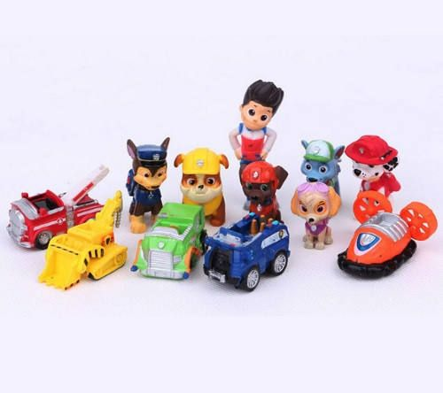 Paw Patrol Birthday cake toppers play set 12 pcs toys Paw Patrol 12 piece set with Ryder, 6 puppies and 5 vehicles Ryder boy is 2 1/2 inches tall These plastic figures are perfect for Paw patrol birthday decoration and a birthday toy too! U...