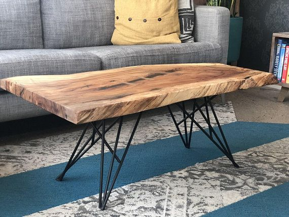 Live Edge Pecan Coffee Table With Metal Base Each Table Is Unique