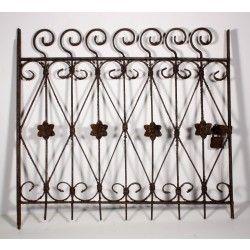 astonishing 19th century wrought iron fence panel with swirls flowers and heart features