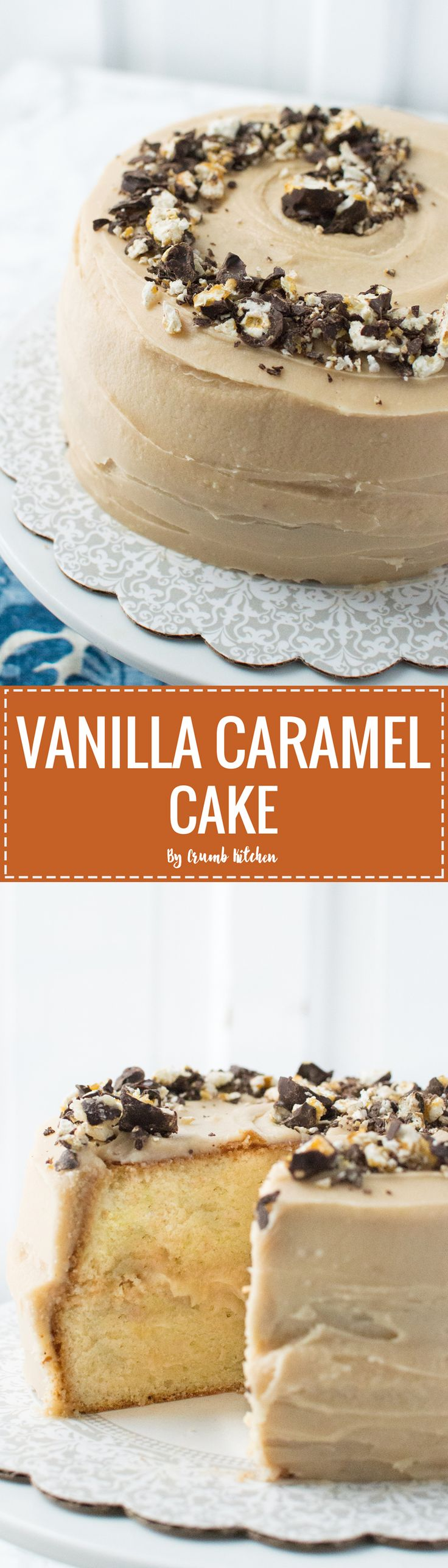 This Vanilla Caramel Cake is a classic vanilla cake topped with easy caramel buttercream frosting and crumbled chocolate caramel popcorn. | Crumb Kitchen