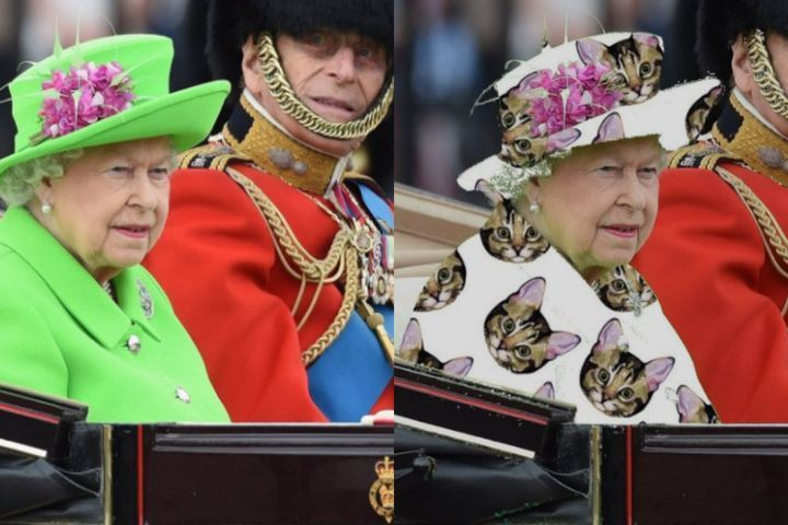 Long live the (green screen) queen. Yes, Queen Elizabeth's eye-catching birthday outfit was an Internet prankster's dream. Why? It was pretty much the color of a green screen — the monochrome backdrop used to shoot footage with scenery that must be added in post-production. (Think driving footage