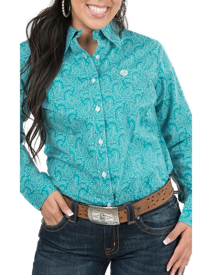 George Strait by Wrangler Women's Turquoise and White Paisley Print Long Sleeve Western Shirt | Cavender's