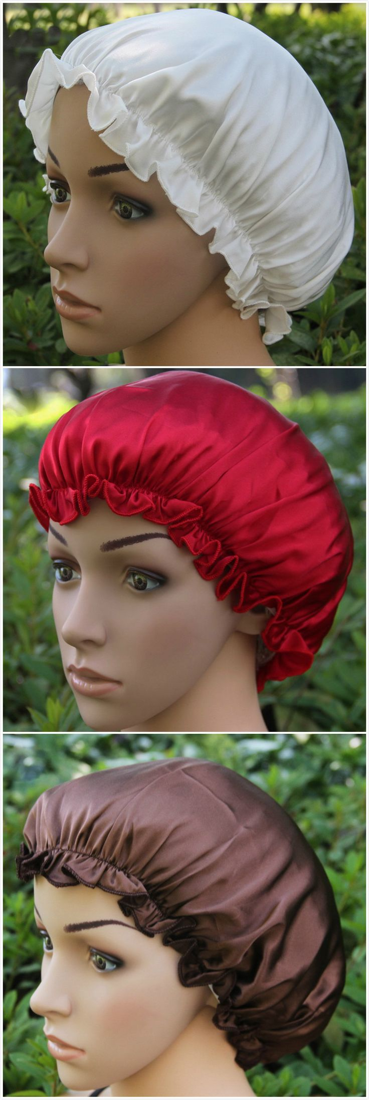 The sleeping cap is made from 100% mulberry silk with solid color, elastic band. It can keep hair in place and helps to prevent breakage during sleep.