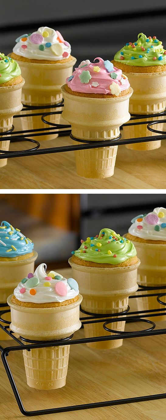 Cupcake cones?! // easily made with this special non-stick baking rack... yes please!