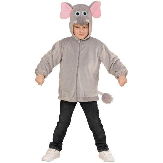 Olifant verkleed vest voor kinderen. Een pluche hoodie met olifantenkop voor kinderen. De trui is voorzien van een ritssluiting.