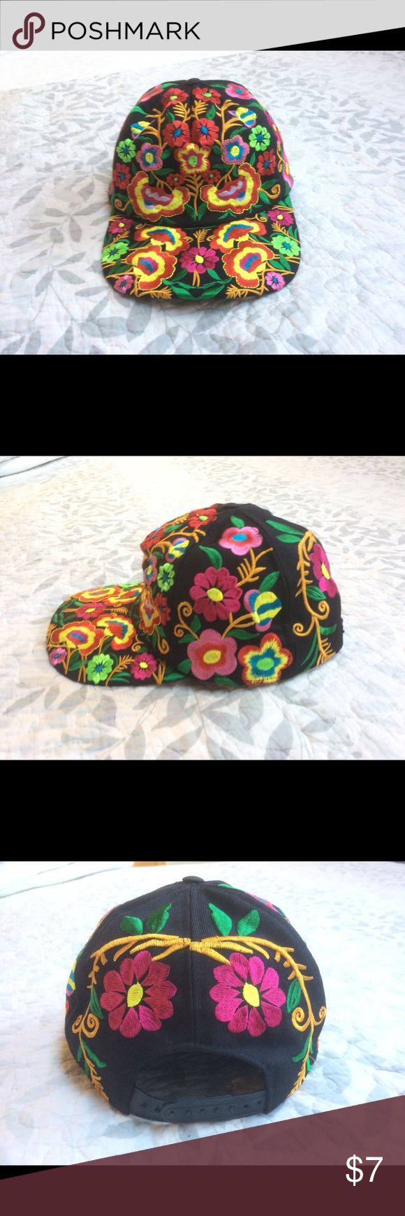 Funky floral hipster hat Snap back floral embroidered black hat. Wore this hat for maybe an hour at PRIDE is all. super cute and hipster. Accessories Hats