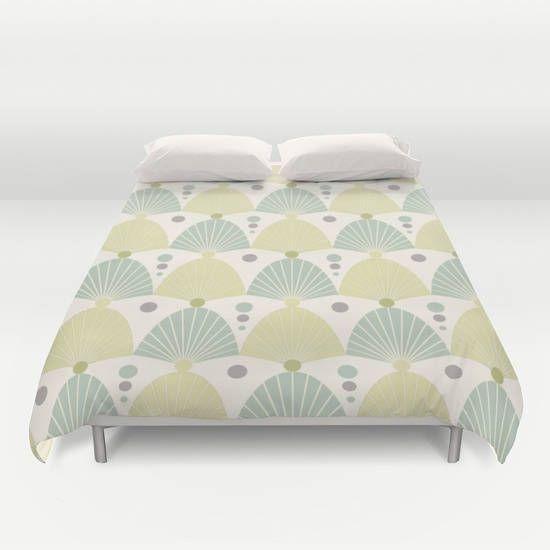 Sublime jade,Art deco Duvet cover,Bedding,Bedroom decor,Queen,King and Full duvet cover,pastel,yellow,green blue duvet,Vintage duvet,dots by OkopipiDesign on Etsy