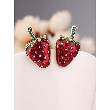 korea rode aardbei imitatie diamant 18k vergulde oorbellen voor vrouwen sieraden – EUR € 3.99
