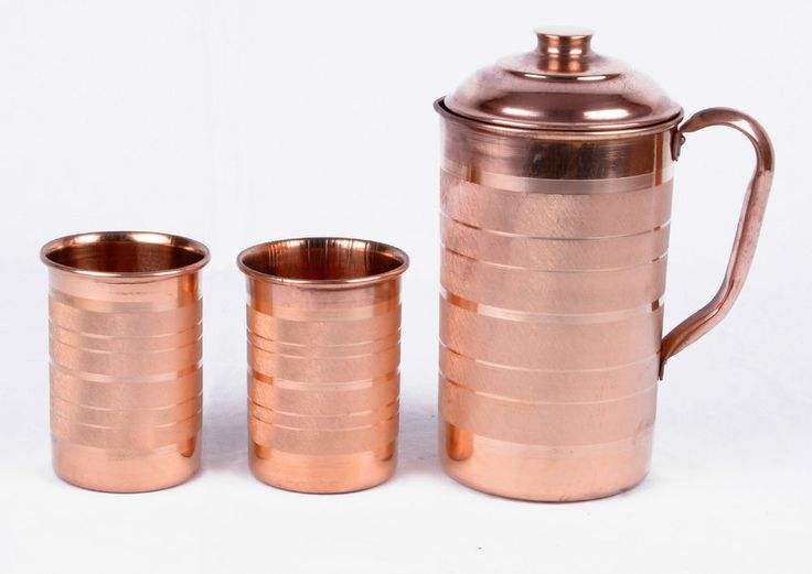 INDIAN 1 COPPER WATER JUG WITH 2 GLASSES SET PURE ENERGIZED WATER HEALTH NATURAL