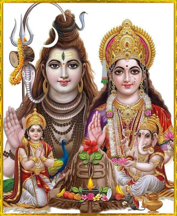 Shiva Parivar with Parvati, Ganesha and Kartikeya.