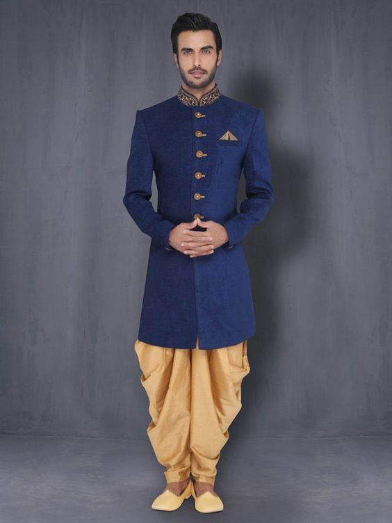 Indo Western With Patiala   Designer Sherwani   Dulha Collection For Men Online   Buy Gift Sets for Men:
