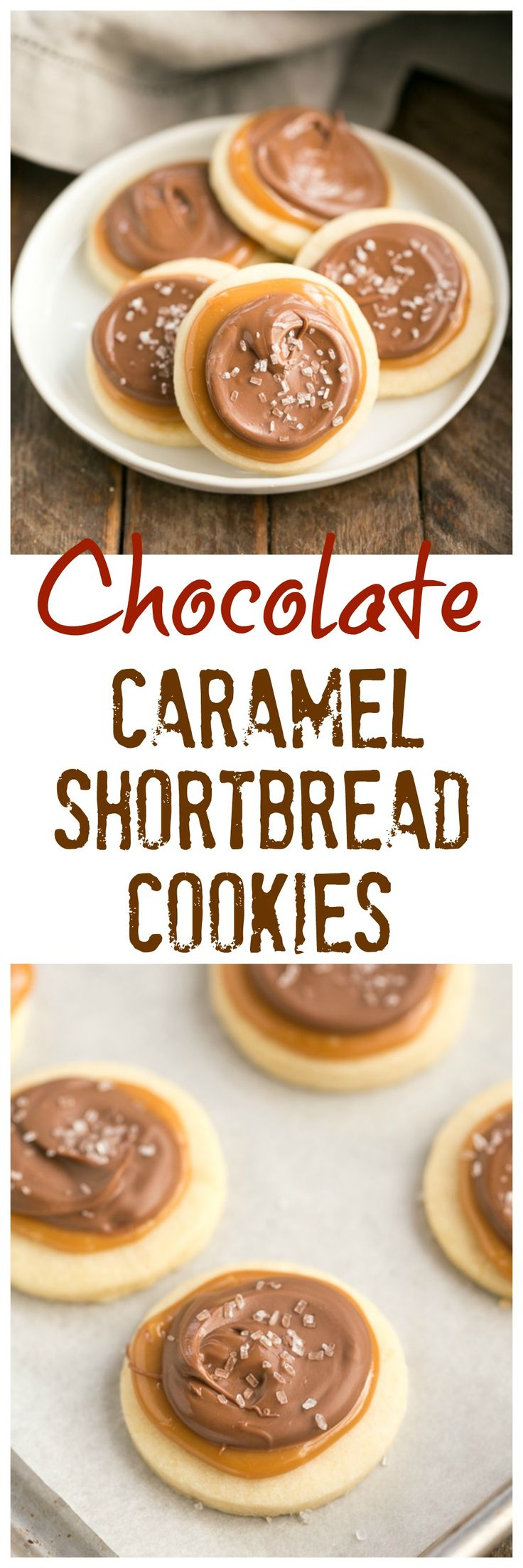 Chocolate Caramel Shortbread Cookies | All the flavors of a Twix bar in one delectable cookie! @lizzydo