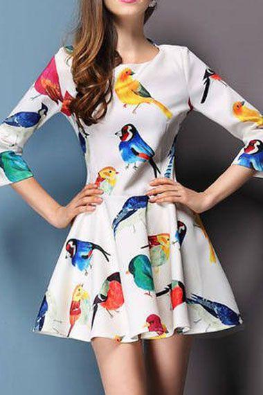 Birds Printing Pleating Hem Fashion Dress