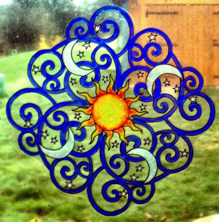 WICOART WINDOW COLOR STICKER CLING FAUX STAINED GLASS MANDALA CIEL SKY SUN MOON