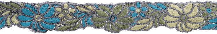 2 In Thick Yarn Embroidered Floral Grn