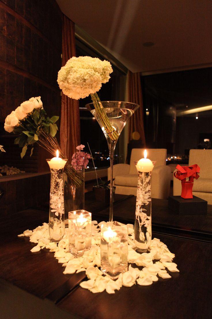 Velas Iluminación Cristal Petalos