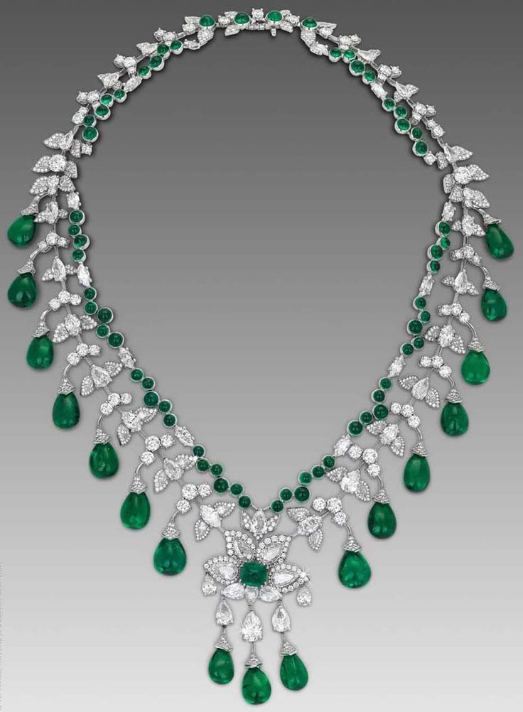 http://rubies.work/0856-ruby-pendant/ Zambian cabochon emerald necklace by David Morris in white gold.