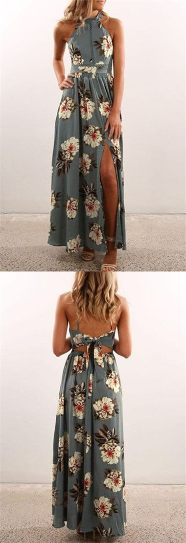 Grey Sexy Random Floral Print Splited Dress