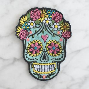 Sugar Skull Patch - Iron On Patches - Day of the Dead - Dia de los Muertos - Cute - Embroidered Applique - Wildflower + Co