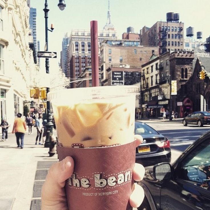 """The artsy image says it all. With coffees, lattes and baked goods, The Bean is the ultimate """"neighborhood coffee shop"""" for New Yorkers. See more of the best iced coffee in the city here."""