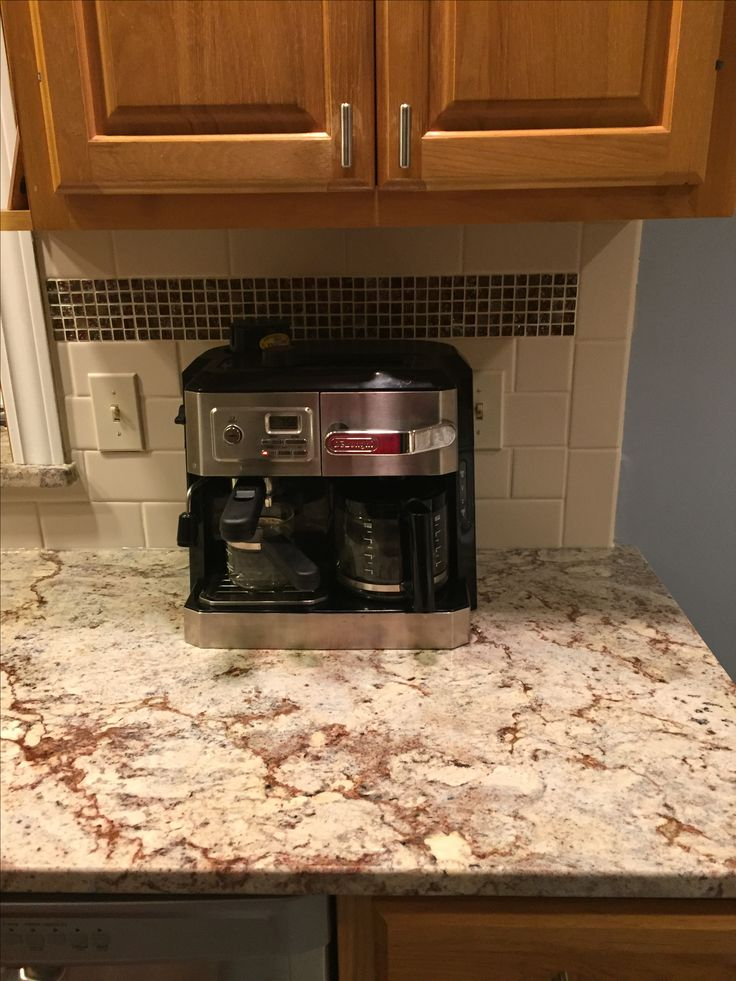 Sienna Bordeaux Granite Almond Subway Tile With Icy Red Mini Mosaic Samsung Range