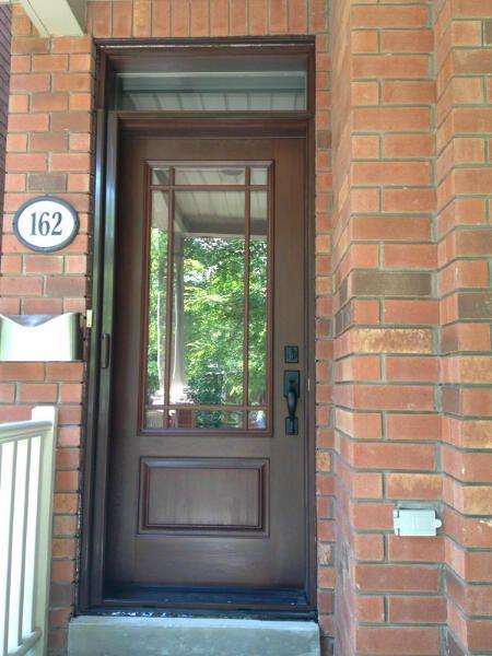 fiberglass door with prairie grill and flat black emtek hardware wwwfiberglassdoorstoronto - Exterior Fiberglass Doors