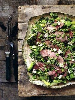 recipe: Warm lamb salad with a pea, mint & feta cheese dressing